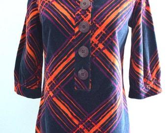 70s Bohemian Velvet Merlot Orange plaid colorful striped velvet A line Dress Street Style