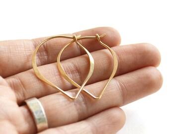 Lotus hoop earrings -  leaf earrings -  14k gold filled hoop -  simple hoop earrings -  gift for her - gift under 25 - minimalist earrings