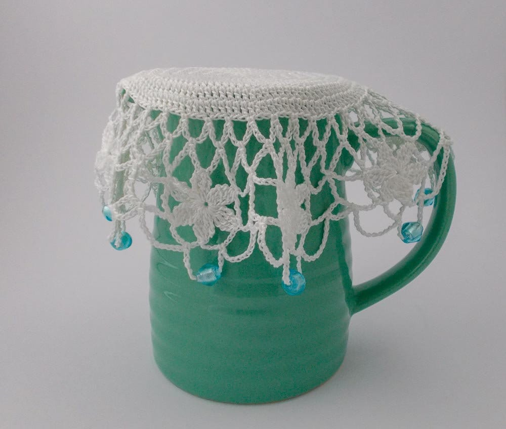 White Crochet Beaded Jug Cover with Ice Blue Beads Beaded
