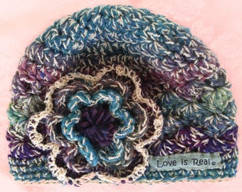 Ornate Hat~Unique Flower Hat~Love is Real Hat~Winter Hat~Ornamental Hat ~Multi Colored Hat~Crocheted Hat