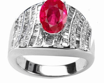 ruby  diamond ring  14k white gold