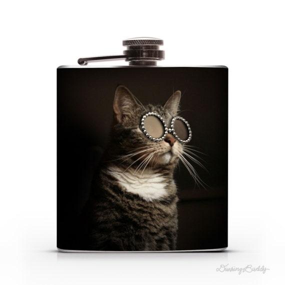 Adopt a Kitty Friend-  Stylish Shades - Sunglasses at Night - Hip Flask
