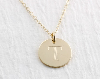 Initial Necklace Solid Gold Engraved Initial Necklace Personalized Initial Necklace Personalized Jewelry 14k Gold Necklace Gift For Her