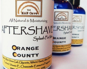 AFTERSHAVE- ORANGE COUNTY - All Natural Face Conditioner For Kissable Skin with Aloe, Green Tea and Chamomile by Man Cave Soapworks