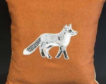 """Handmade orange Appliqué, Fox cushion, 16"""""""