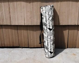 Yoga Mat Tote Bag Beige Black Gray Birds Sunflowers Vines Cotton Twill Canvas