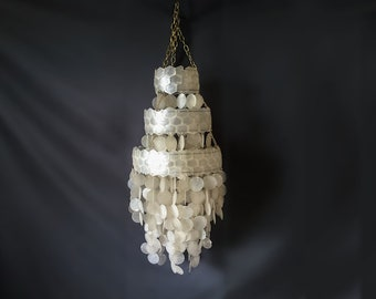 Vintage Minimalist Tiered Layered Capiz Shell Chandelier Pendant