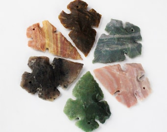 "2-2.5"" CROSS DRILLED shaped Agate Arrowheads Stone Knapped Arrowhead Spear Point Reproductions"