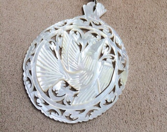 Vintage Hand Carved Mother of Pearl Dove Pendant from Bethlehem.