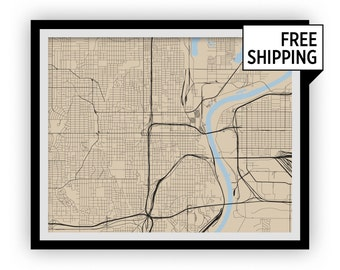Omaha Map Print - Choose your color