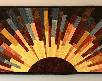 Art quilt sunburst 7, wall quilt, wall hanging