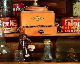 Antique Bottles Coffee Grinder & Cans