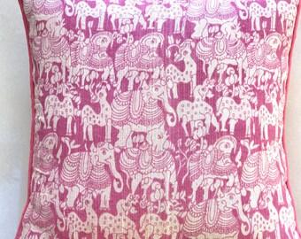 Panchatantra Cushion Cover- Pink