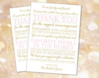 Wedding reception Thank you card Pink gold (INSTANT DOWNLOAD) - Wedding thank you cards printable - To our family and friends