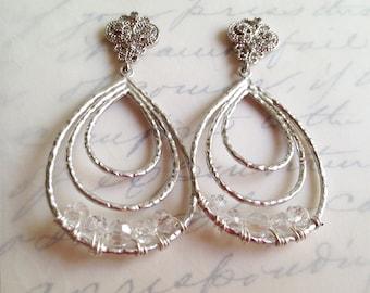 bridal large earrings, clear crystal earrings, wedding jewelry, vintage style earrings, big bridal jewelry,  bridal jewelry teardrop earring