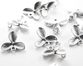 12 Pieces Oxidized Silver Tone Base Metal Links-Flower 17mm (26580Y-H-220)