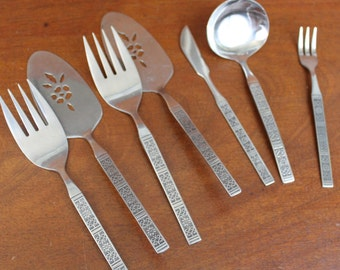 Lifetime | Cutlery Mid century vintage Flatware utensils replacements pie LCU55 with Embossed pattern  on Handle Stainless Silverware BIN 54