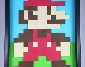 Framed Handmade Papercrafts -  Pixel Mario