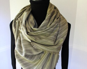 Blanket Scarf - Fall Fashion - Fringe Detail - Woven Scarf - Olive Green  Cream Striped - Fringed Scarf - Blanket Scarves