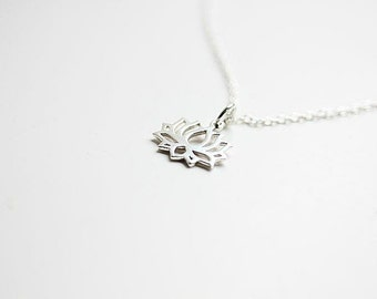 Silver Lotus Flower Necklace - Sterling Silver Tiny Lotus necklace - Lotus necklace - Lotus flower jewelry - Yoga Necklace - Yoga Jewelry
