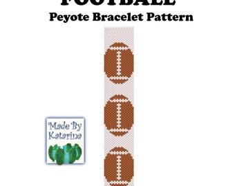 Peyote Pattern - Football - INSTANT DOWNLOAD PDF - Peyote Stitch Bracelet Pattern - One Drop Odd Peyote Stitch - Peyote Football