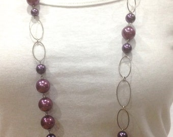Stunning Estate Purple Beaded Silver Tone Hoops Necklace