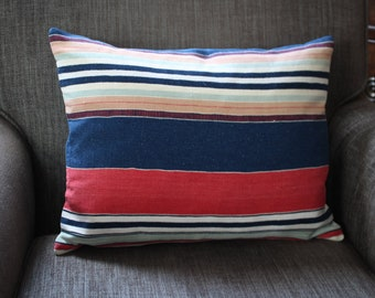 Pillow Cushion Cover  Indigo Blue Raspberry Stripe  14 x18 inch 35 x 45cm . Handmade with Passion