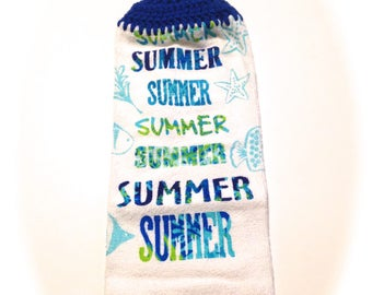 Summer Hand Towel With Royal Blue Crocheted Top