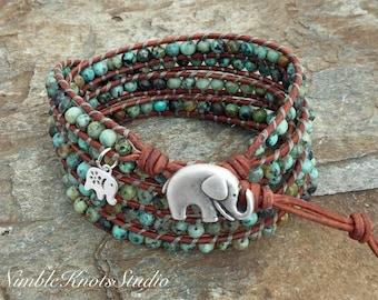Gemstone Wrap Bracelet, Elephant Jewelry, Boho Wrap, Beaded Wrap, Wrap Bracelet, Beaded Wrap Bracelet, Leather Jewelry, Elephant Bracelet