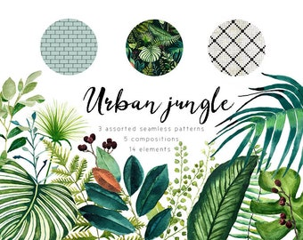 High quality watercolor tropical leaves clipart, hand-painted tropical forest leaves, ethnic seamless pattern, urban jungle, trendy vegetal