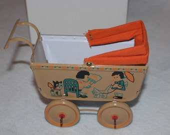 Unusual Custom Made Tin Lithograph Miniature Baby Doll Buggy Carriage-Very  Limited Production-with Original box -