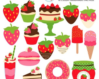 Sweet Strawberry Clipart Set - clip art set of fruit, strawberries, ice cream, cake - personal use, small commercial use, instant download