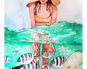 Tropical Fish and Girl Swimming Watercolor - Painting Print