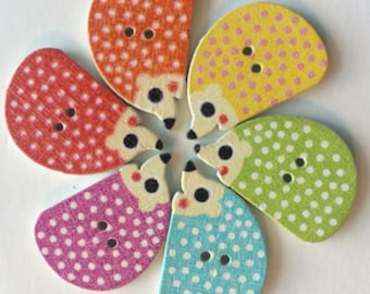 Wooden Buttons- Hedgehogs- 9pcs wood buttons