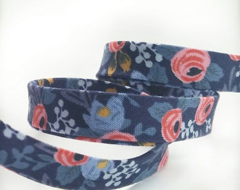 Rifle Paper Co Bias Tape -  1/2 in Double Fold Bias Tape - Quilt Binding - Les Fleurs Rosa Navy