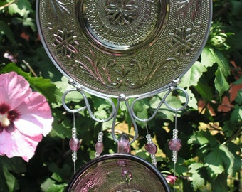 Sparkling Wind Chime in Amethyst, Sandwich Glass, Hand Made Stained Glass Chimes