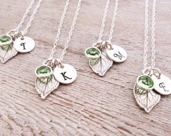 Bridesmaid Jewelry - Bridesmaid Necklaces - Set of 4 - Bridesmaid Initial Necklace - Leaf Necklaces - Spring Wedding