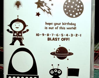 NEW!! Stampin' Up! Blast Off retired red rubber stamp set (10)