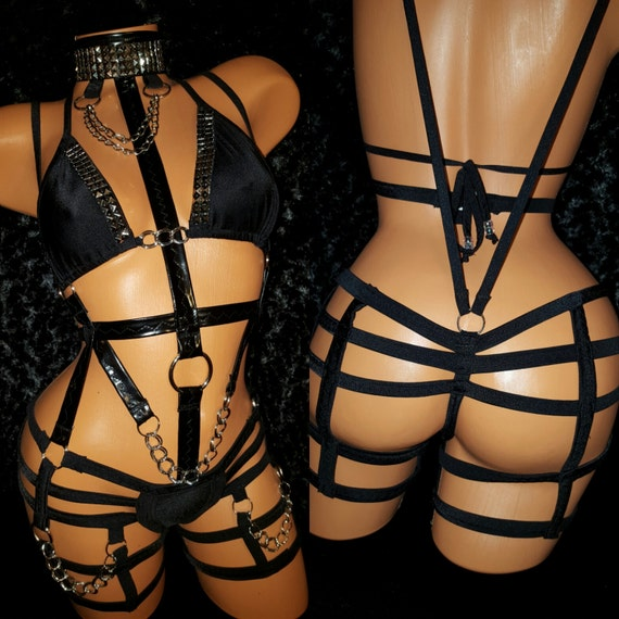 Kinky Cage Stripper Bondage-wear Outfit.  Custom Made, Authentic Exotic-wear, All Spandex & Stretch Vinyl, Chains, Silver Stud Appliques