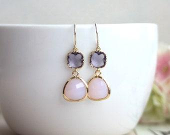 Purple Amethyst Glass Pear, Violet Opal Glass Drop Dangle Earrings. Modern Everyday. Egg Plant Wedding. Bridesmaids Earrings. Purple Wedding