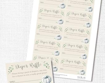 White Pumpkin Diaper Raffle Ticket, Printable, Fall Neutral Baby Shower, Digital File, Insert Card, Instant Download, Boho, Bohemian, Rustic