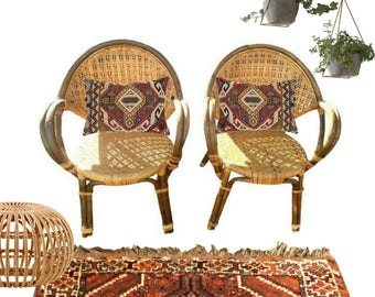 Mid Century Bamboo Chairs PAIR Rattan Chairs Barrel Back Bent Bamboo 1960 Matching Arm Chair French Farmhouse Bohemian Decor Bamboo Set