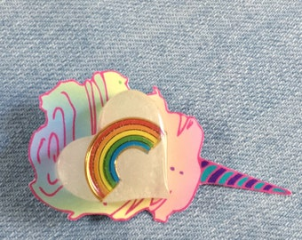 Rainbow in a Cloudy Sky Resin Heart Pin