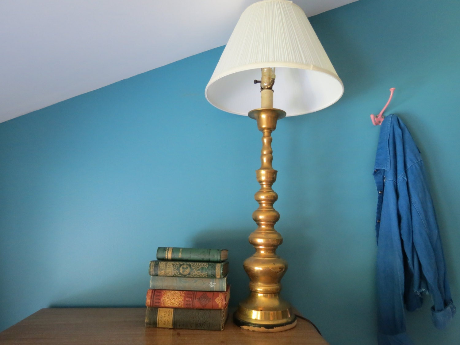 vintage brass lamp mid century modern hollywood regency