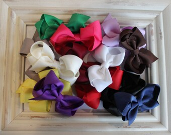 2 Bow Hair Clips.  Girls Hair Clips.  Bow Clips with Non Slip Grip. Grosgrain Bow Hair Clip.  Bow Clips. Hair Clips.