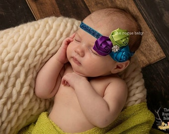 The Peacock Headband - Blue Purple Green-  Baby Newborn Infant Photo Prop Toddlers Girls Women Peacock Wedding Flower Girl