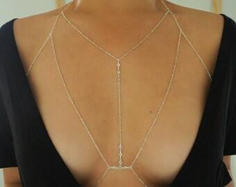 Silver Brass T-Row Dainty Bralette Halter Top Body Chain with CZ Diamonds/ Dainty Silver Body Chain / Silver Body Chain / Body Chain