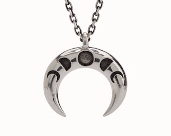 Double Horn Moon Phase Necklace Sterling Silver Crescent Moon Celestial Charm Tusk Boho Jewelry - FPE025