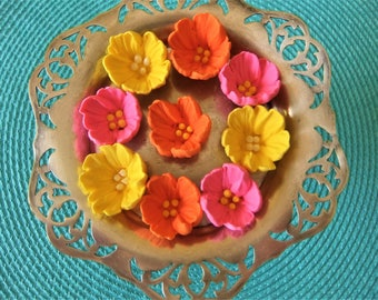 """Royal Icing Cupped Flowers with 4 Center Dots Bright Colors 1"""" 18 piece Pkg ReAdY To ShIp"""
