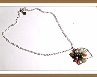Handmade MWL one of a kind forged wire design with multi color pearls and beads. 0154
